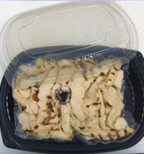 Tray packed, lower sodium flame broiled chicken breast strips.